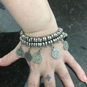 NWOT belly dancing 2 strand coin charm bracelet